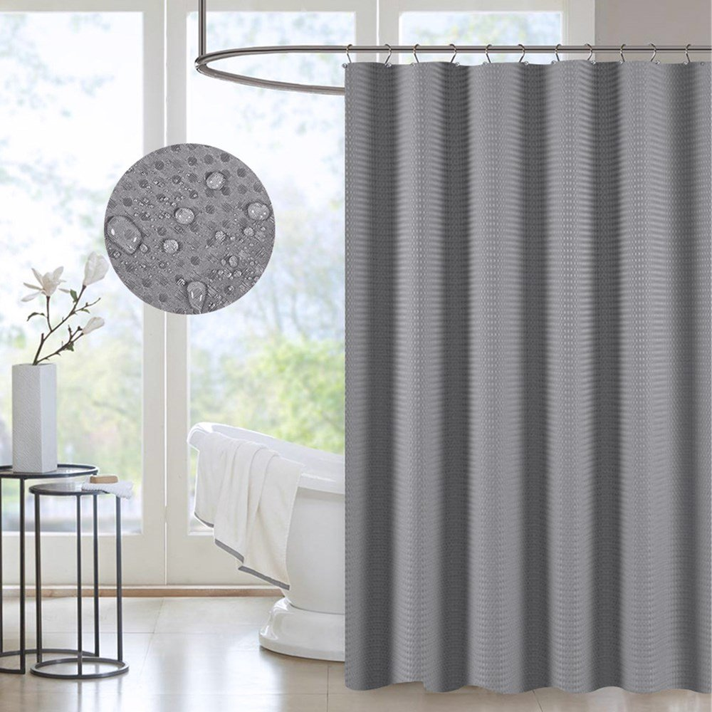 Waterproof Fabric Shower Curtain Grey Gray Decorative Waffle Shower Curtain for Hotel Spa Metal Grommet Antibacterial Mildew-Free 71x71