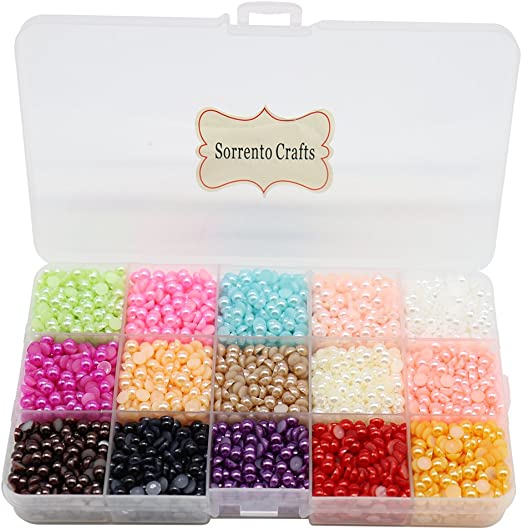 9000pcs Mixed 15Color Half Pearl Bead 4mm Flat Back Gem Scrapbook Craft //DIY