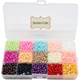 9000pcs Mixed 15Color Half Pearl Bead 4mm Flat Back Gem Scrapbook Craft /DIY Compartment Plastic Box