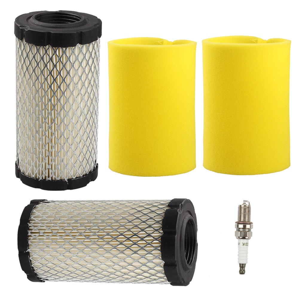 Harbot (Pack of 2 793569 793685 Air Filter/Pre Filter with Spark Plug for Briggs & Stratton Intek 20-21 Gross HP John Deere MIU11511 GY21055 LA125 LA115 D100 D120 D110 L100 Lawn Mower Tractor