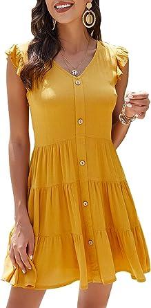 Manydress Women's Summer Ruffle Sleeve V Neck Button Down A-line Swing Flowy Mini Casual Dress MY067