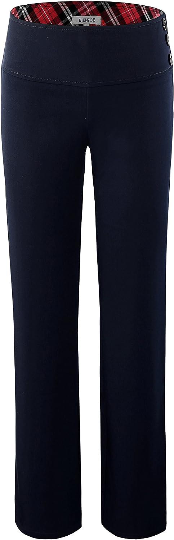 Bienzoe Girl's School Uniforms High Tech Durable Adjust Waist Pants: Clothing