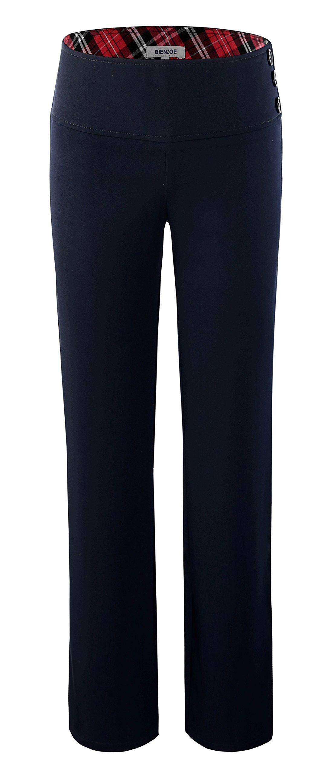 Bienzoe Girl's School Uniforms High Tech Durable Adjust Waist Pants Navy 12