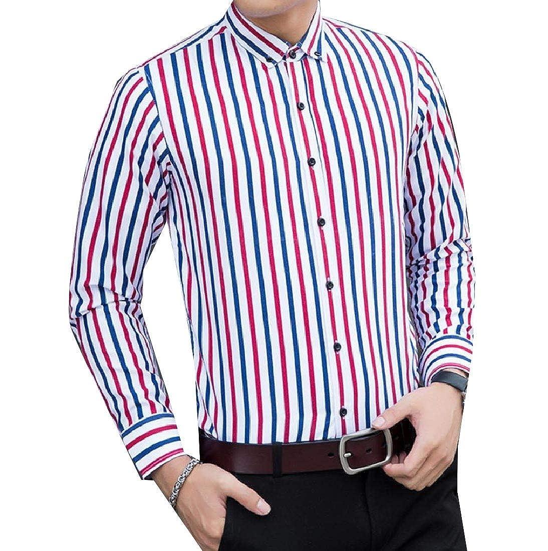 YUNY Men Button Striped Big and Tal Skinny Long-Sleeve Shirt Blouse Tops 1 4XL