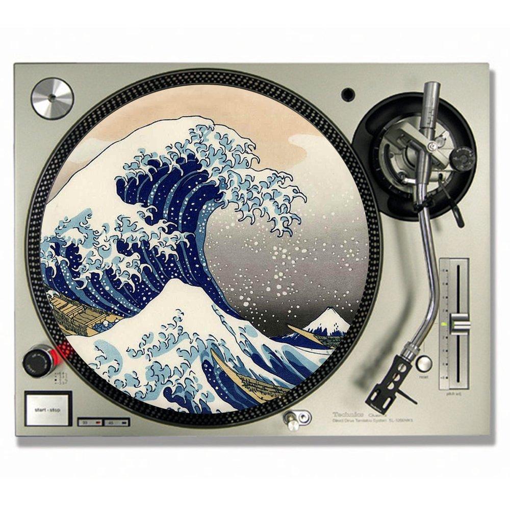 La Grande Vague De Kanagawa Hokusai feutrine pour DJ/platine vinyle Slip–Tapis 12inch