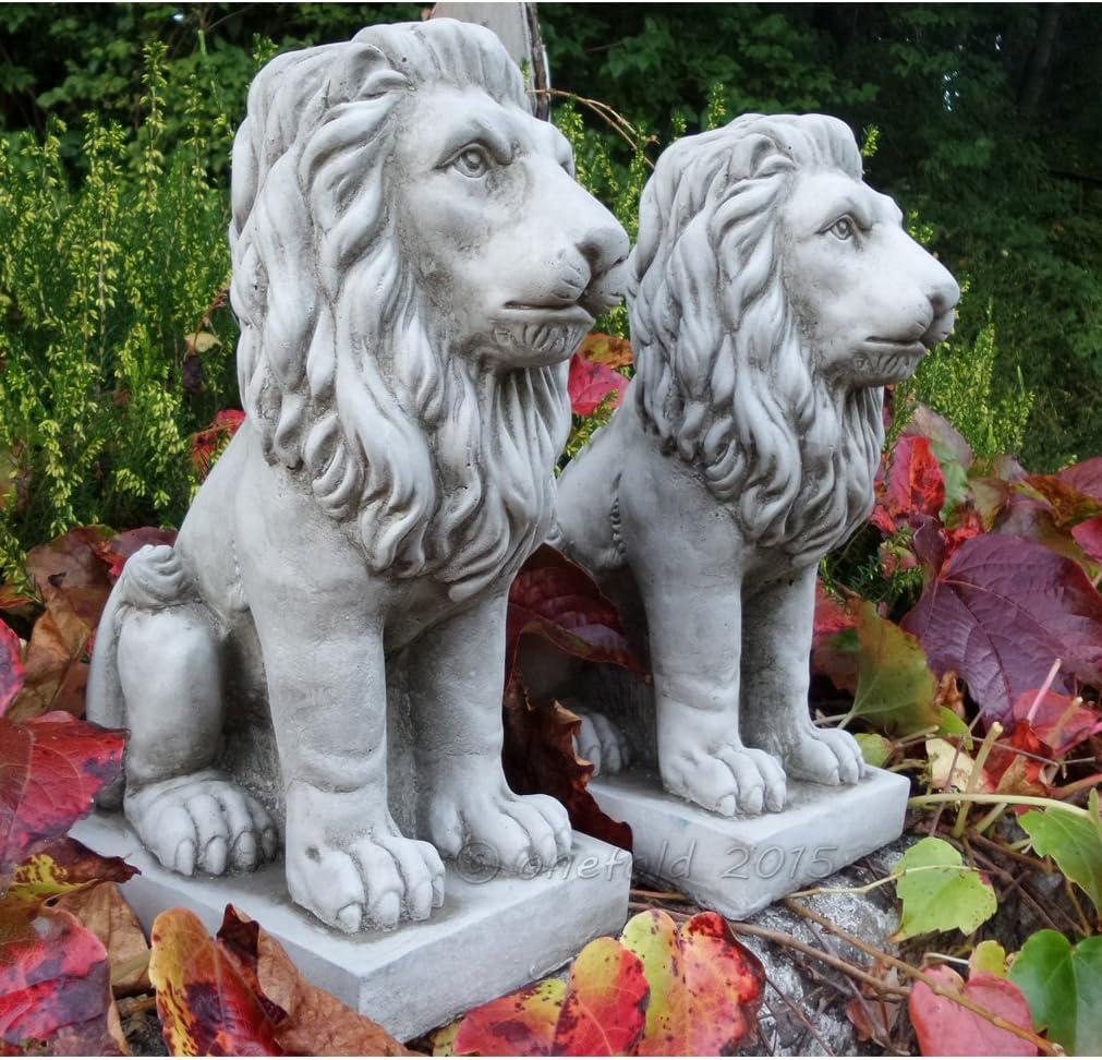 Par de figuras de leones de piedra moldeada para adorno de jardín, estatua, escultura de leones orgullosos.: Amazon.es: Hogar