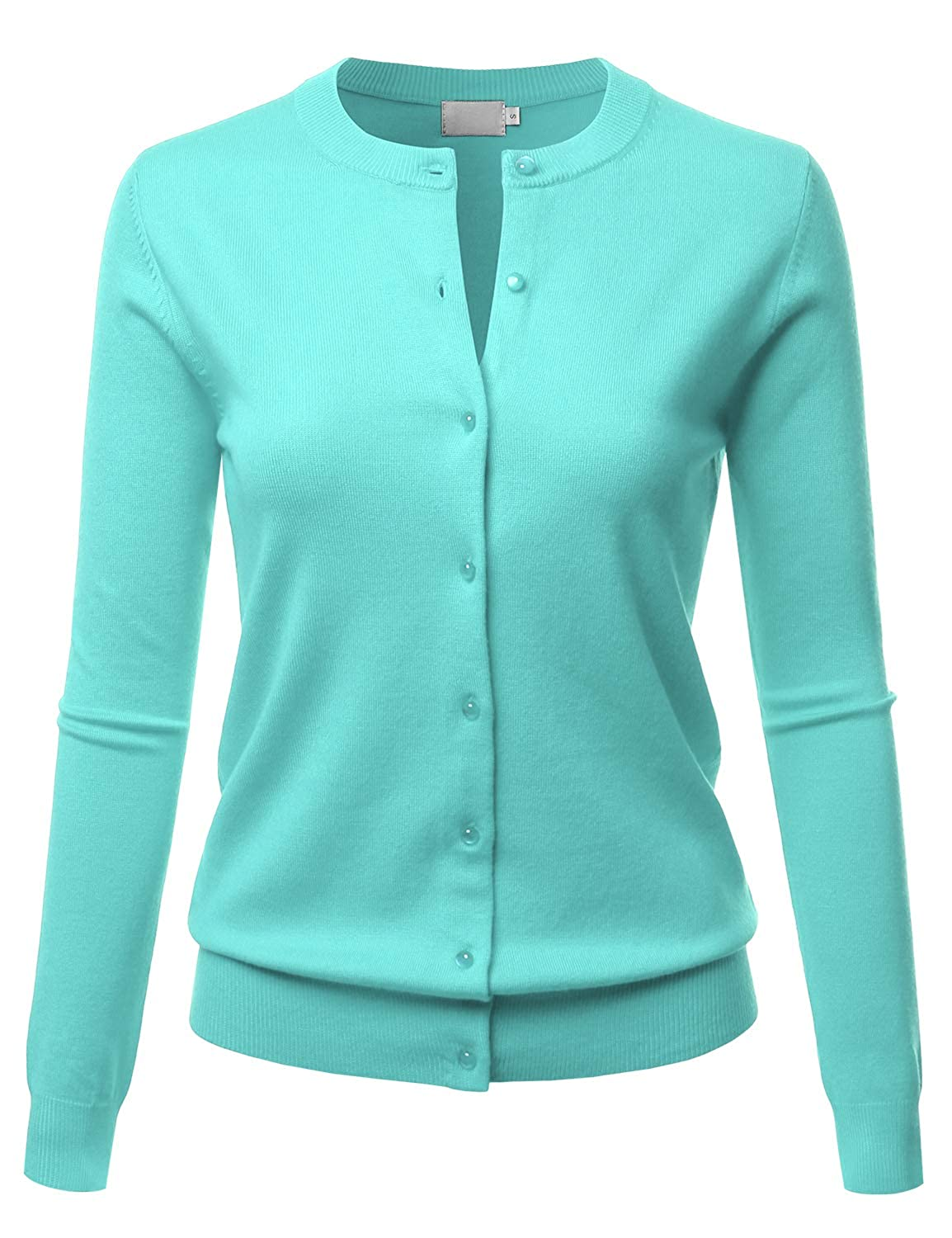 Lbt009mint LALABEE Women's Crew Neck Gem Button Long Sleeve Soft Knit Cardigan Sweater