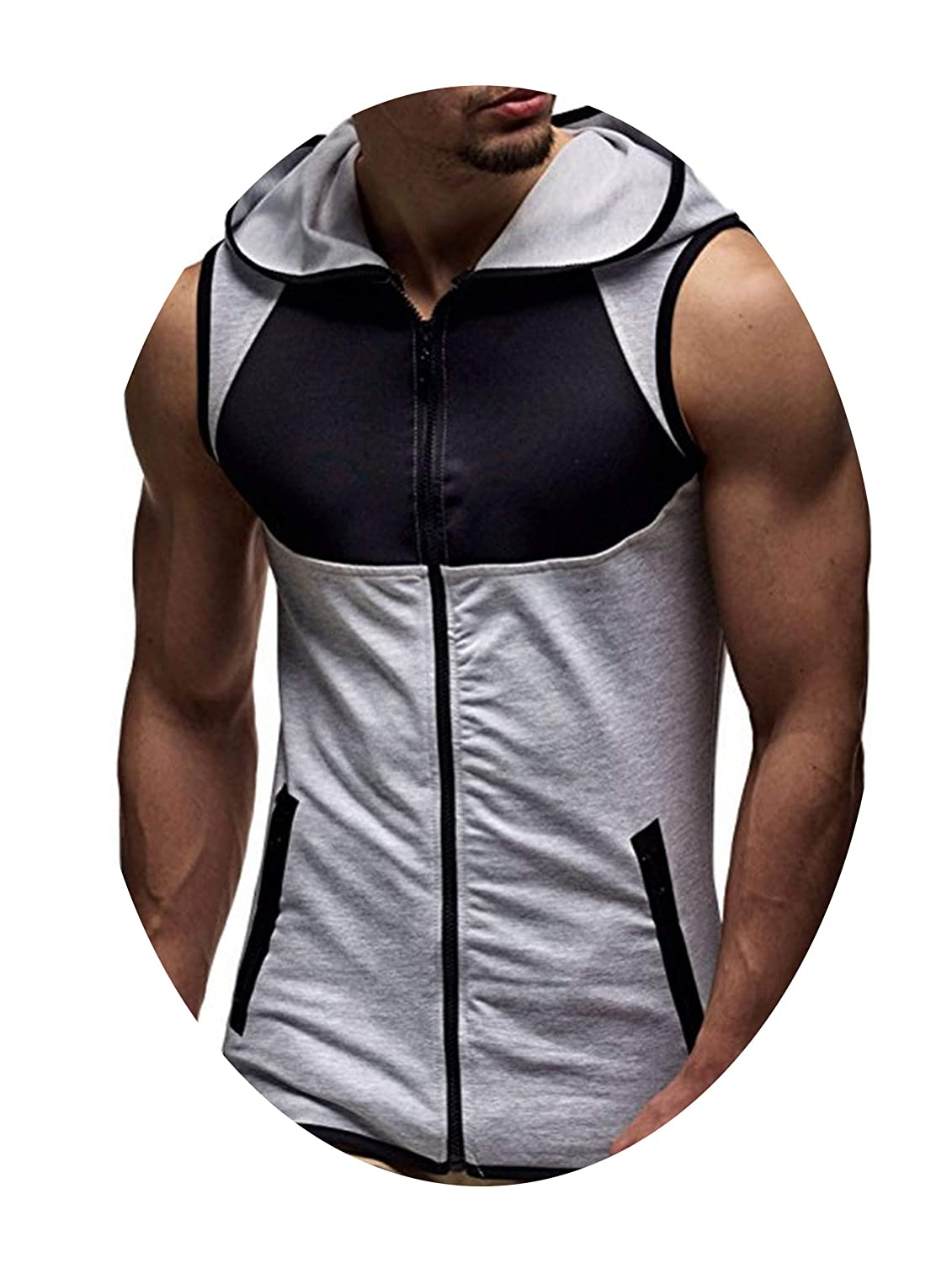 kongye Casual Cotton Men Sleeveless Tank Tops Fitness Hooded Camouflage Mens Vests Male Clothes