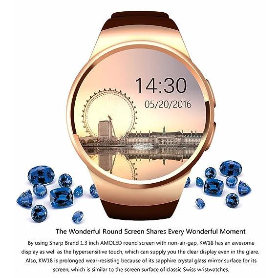 Amazon.com: KW18 Bluetooth smart watch full screen Support ...