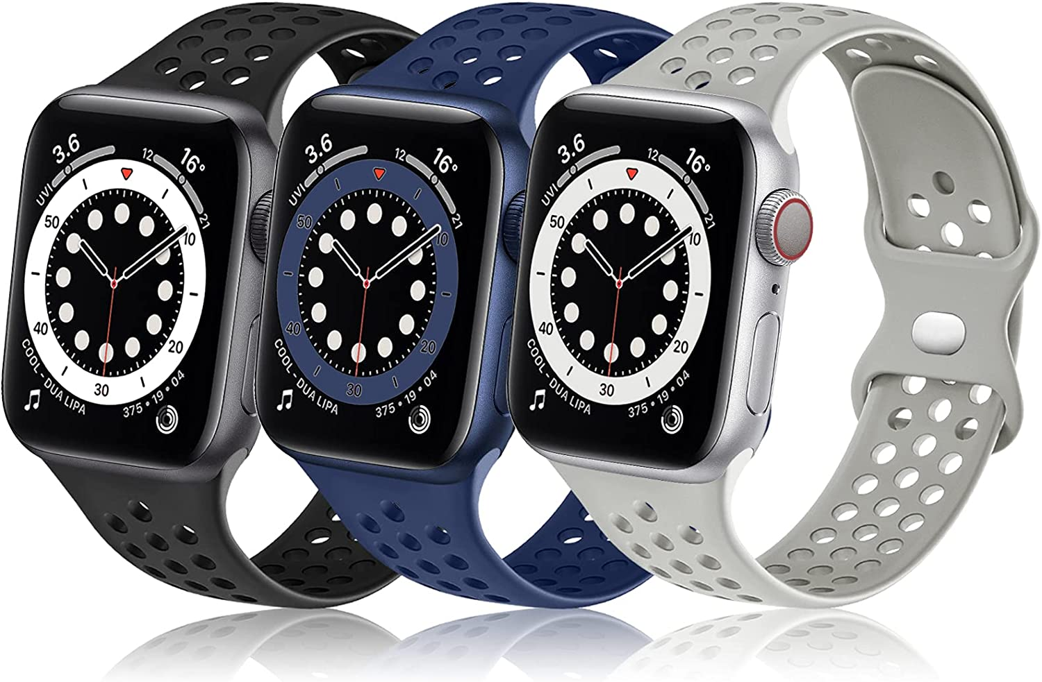 Rubinom Compatible with Apple Watch Band 40mm 38mm 44mm 42mm Women Men,【3 Pack】Soft Sport Silicone Breathable Holes Waterproof Replacement Wristband for iWatch SE & Series 6/5/4/3/2/1