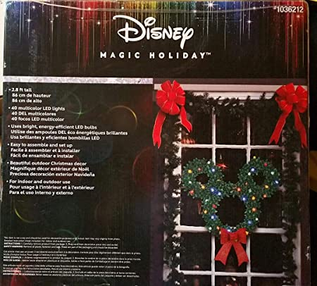 Amazon.com: Gemmy Disney/Pixar 30in Hanging Mickey Mouse Christmas Wreath with Multicolor LED Lights: Home & Kitchen
