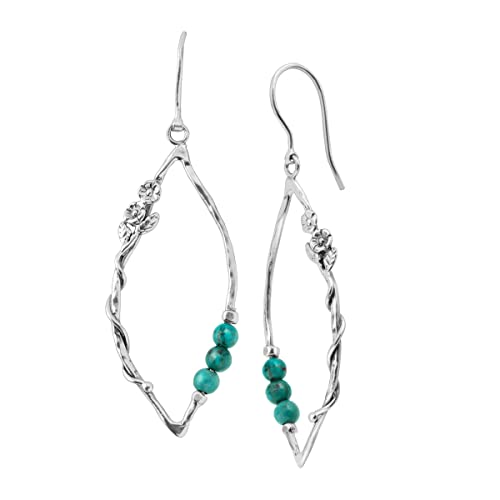 Silpada Wildflower 1 3 4 ct Compressed Turquoise Drop Earrings in Sterling Silver