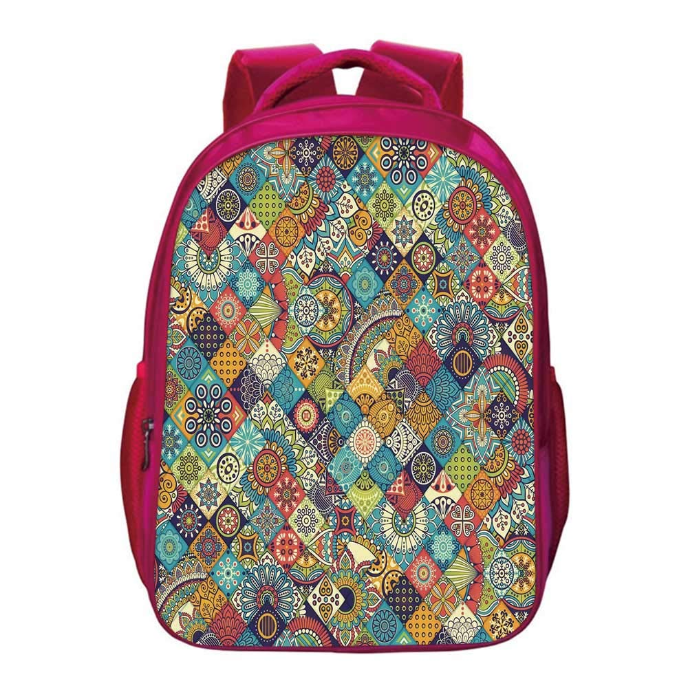 Bohemian Printing Backpack,Checkered Pattern with Ethnic Ornamental Floral Figures Ethnic Folk Art Abstract Decorative for Kids Girls,11.8''Lx6.3''Wx15.7''H by YOLIYANA