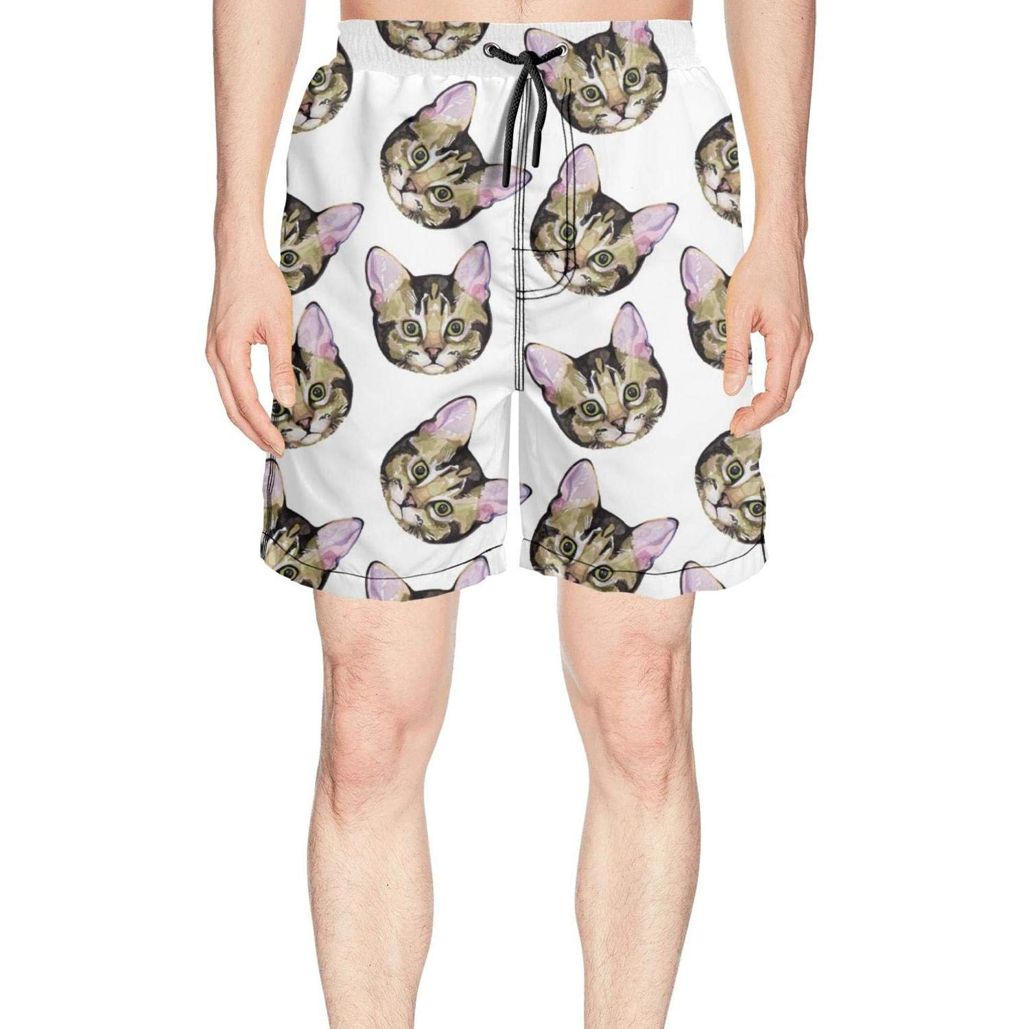 Man's Trippy cat Hipster Cat Swim Trunks Running Outdoor Cool Boardshorts