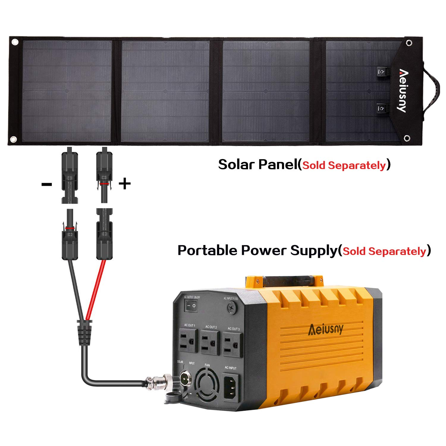 Aeiusny Solar Panel Cable MC4 Connector Adapter Cable Portable Inverter Generator UPS Battery Backup Solar Charging by Aeiusny (Image #5)