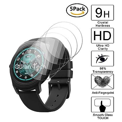 Guran [5-Unidades] Protector de Pantalla Vidrio Cristal Templado para Ticwatch 2 Smartwatch Cristal Vidrio Templado Film (9H, 2.5D Edge, 0.3mm)