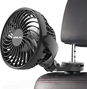 OPOLAR 2019 New Mini Car USB Fan with Multi-Directional Hook, High Airflow, Four Speeds, 360° Rotation, Personal Cooling Vehicle Fan for Car Without AC Driver Passenger Baby Pet-USB Powered Only