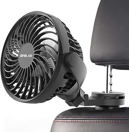 Ventilador USB para coche con fuerte abrazadera, abanicos giratorios para asiento trasero de coche, bebé, ventilador de refrigeración personal eléctrico, apto para SUV RV Auto Vehículo Camión: Amazon.es: Coche y moto