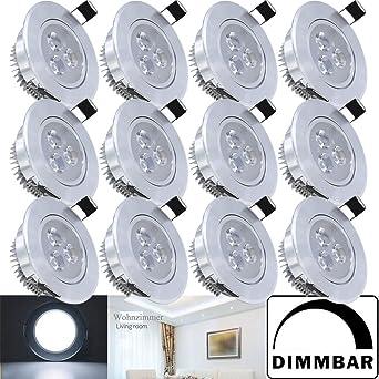 Hengda® 3W LED Einbaustrahler Dimmbar Kaltweiß Für Flur Wohnzimmer  Badezimmer, Aluminium Deckenleuchten,Schwenkbar