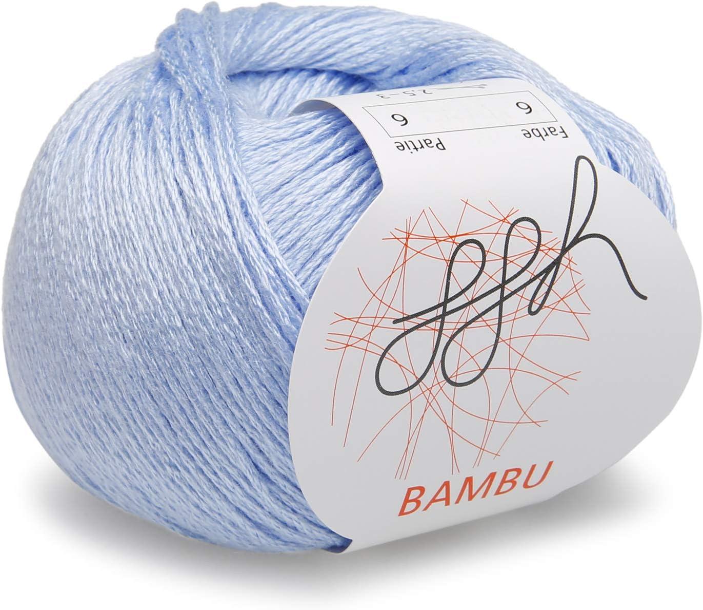 ggh Bambu - 006 - azul claro - Lana de bambú para tejer y hacer ganchillo: Amazon.es: Hogar