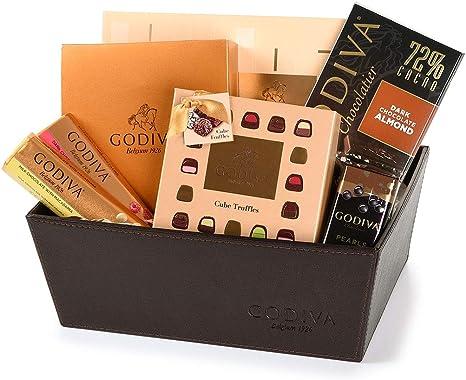 Cesta de regalo de lujo de chocolate Godiva en cuero: Amazon.es ...
