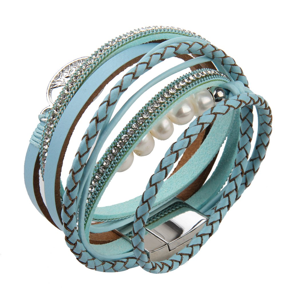 Jenia Tree of life Leather Bracelet Rope Wrap Pearl Cuff Wristband for Women with Gift Bags by Jenia (Image #3)