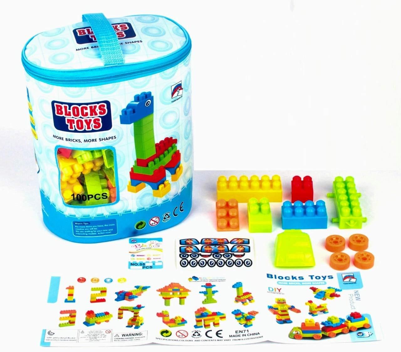 100pcs Kids Childrens Building Blocks Large Block Colourful 100 Piece Colourful
