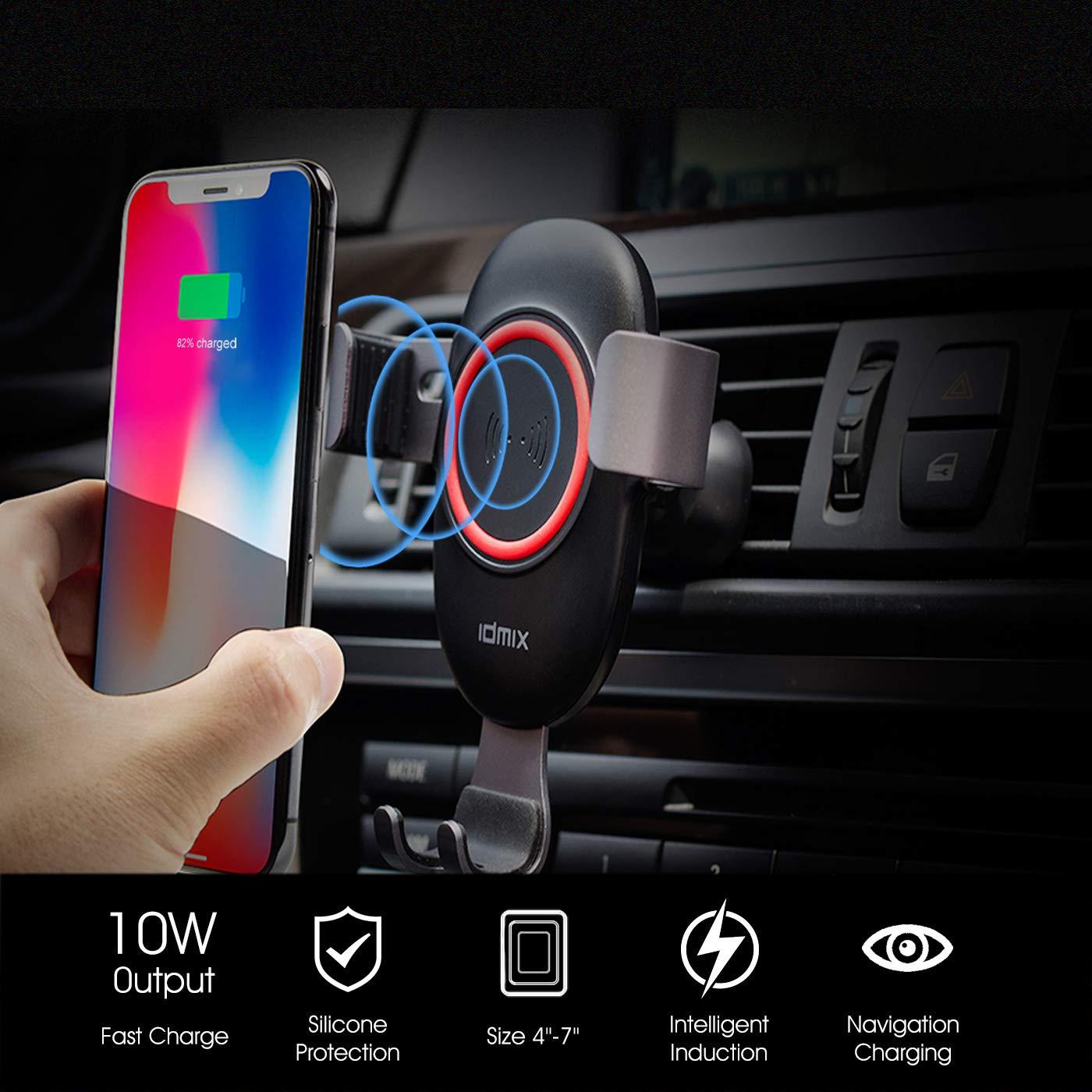 idmix Qi Ladestation Wireless Charger Car Holder Auto Handyhalterung L/üftung Qi Kfz-Ladeger/ät-Halterung Auto Handyhalterung 10W