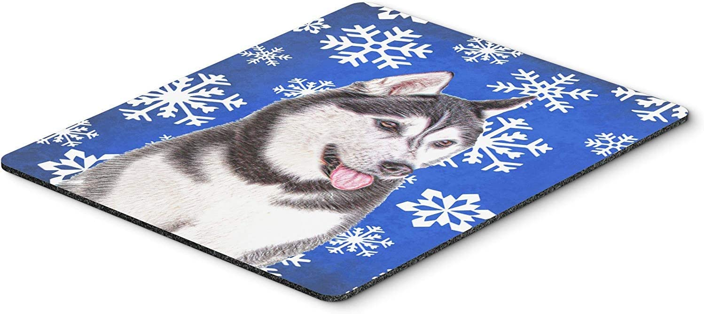 Caroline's Treasures KJ1175MP Winter Snowflakes Holiday Alaskan Malamute Mouse Pad, Hot Pad or Trivet, Large, Multicolor [並行輸入品]