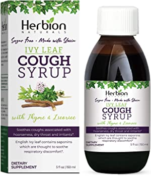 Herbion Naturals Ivy Leaf Syrup with Thyme and Licorice, Helps Maintain Respiratory and Bronchial Health, Supports Healthy Mucous Membranes, Effective for Adults and Children, 5 Fl Oz