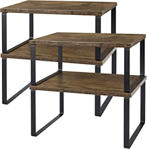 Kitchen Cabinet Shelve Organizer , Set of 4 Counter Shelves, Stackable and Expandable Counter Top Organizer Racks for kitchen bathroom, Industrial Rustic Brown Wood