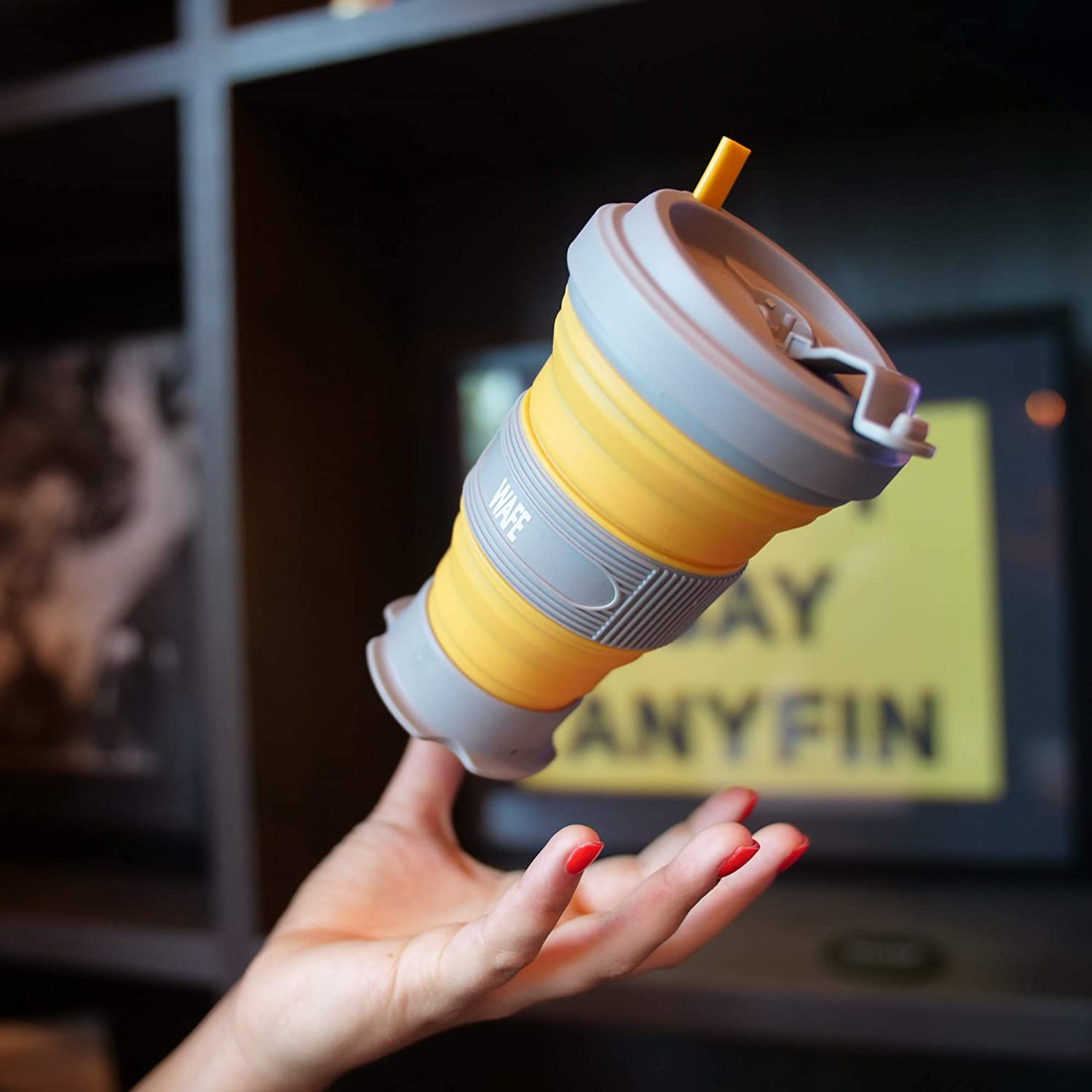 Fits in Pocket Reusable Eco Leak Proof Folding Cup 5 Sizes in 1 Collapsible Coffee Cup Silicone with Lids Sunflower BPA Free Travel Portable Foldable Mug