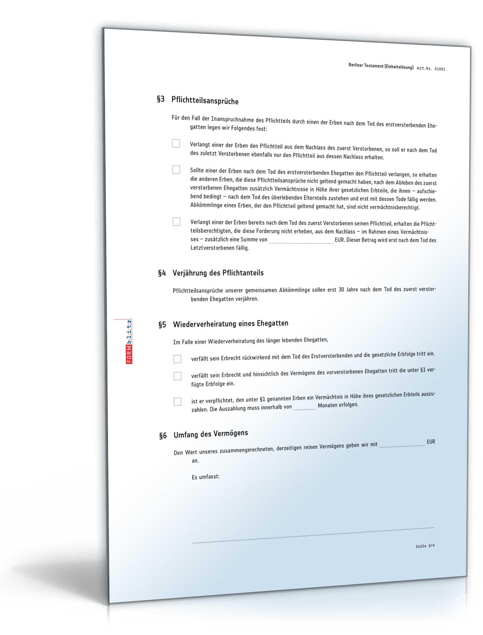 berliner testament einheitslsung pdf ehegattentestament download amazonde software - Ehegattentestament Muster