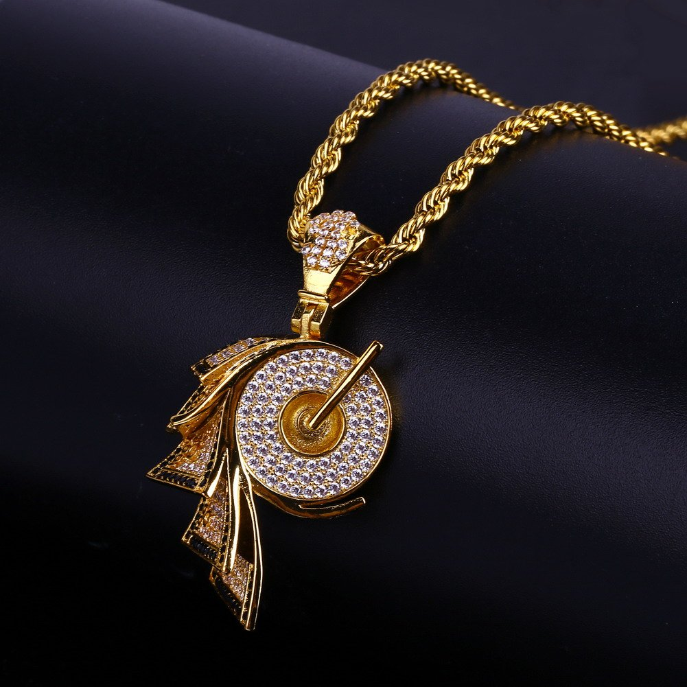 JINAO 18k Gold Plated ICED Out Toilet Roll Dollar Sign Pendant Necklace by JINAO (Image #4)