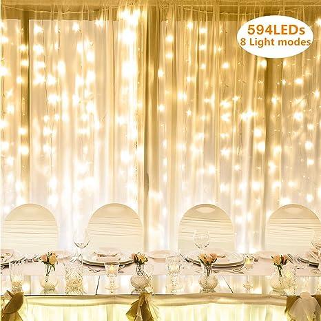 Lighting EVER LE Lichterkette, LED Lichterkettenvorhang 594 LEDs, 8 Modi 3m x 6m Sternen LED Lichterketten, Lichternetz, Ster