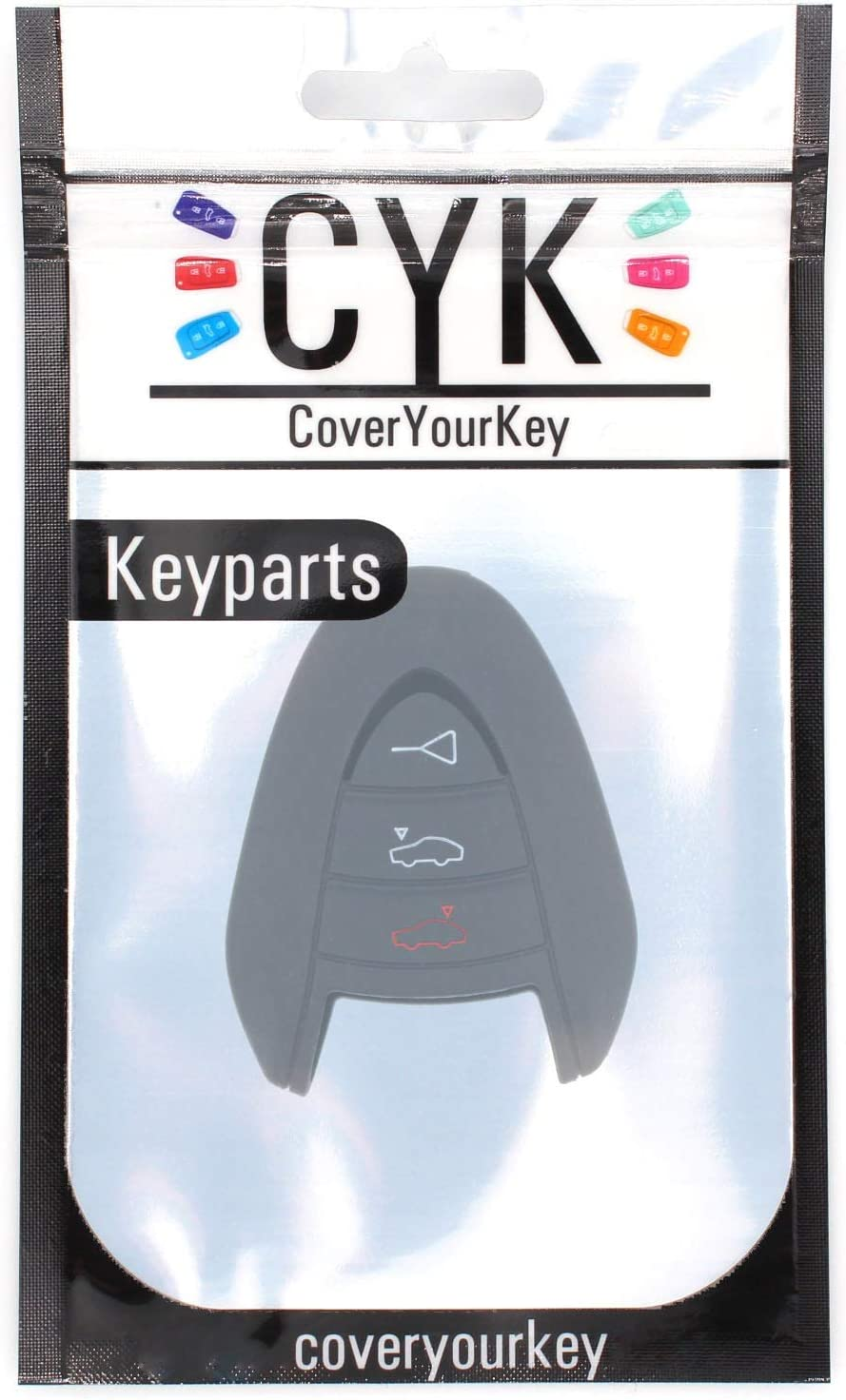 Finest-Folia Key Cover Silicone Black for Porsche B Cover 911 Boxster Targa Cayman 987/997/GTS