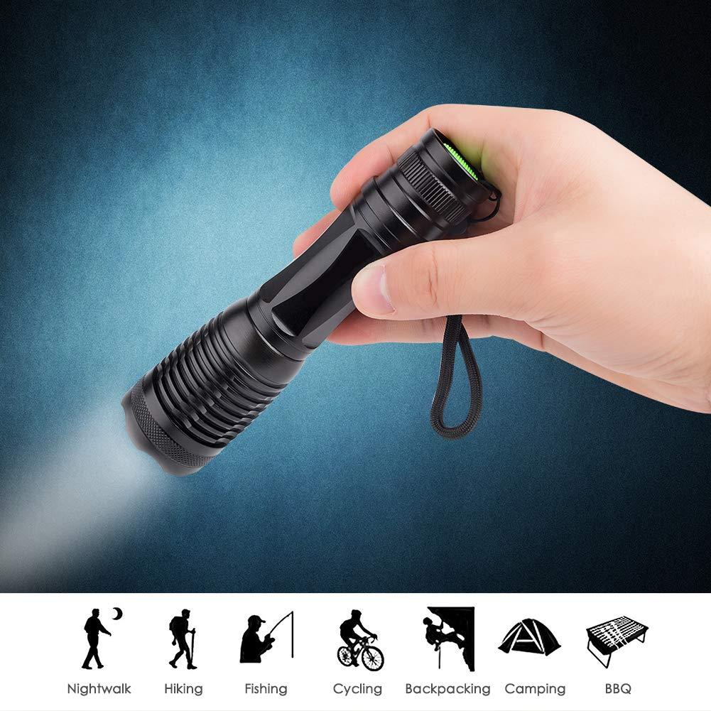 Winzwon Linterna LED Alta Potencia Linterna de Mano Linternas Antorcha 800 LM Flashlight LED de 5 Modos para Ciclismo Camping Monta/ñismo incluida 9* AAA Pilas