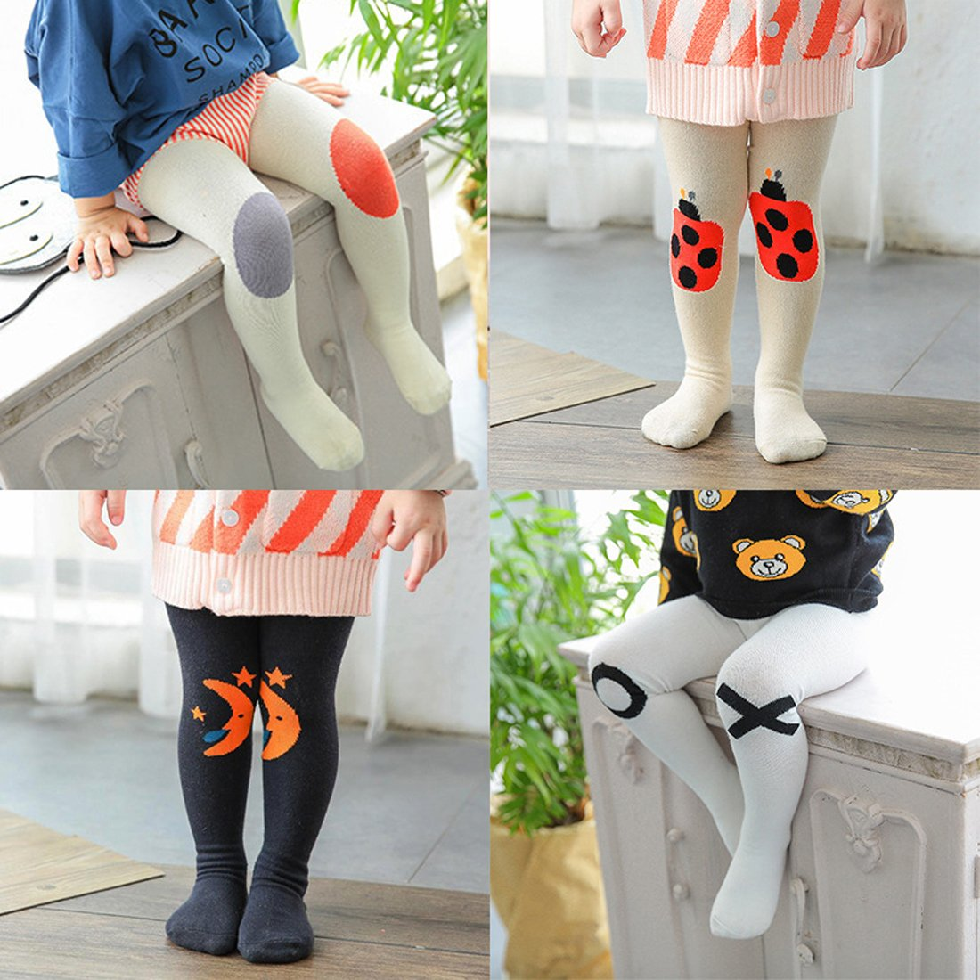 c91f37de4 Gaorui Toddler Baby Tights Cotton Kids Pantyhose for 1-3 Years Infant  Leggings with feet Cartoon Trousers Cute Animal Socks Stockings HOUBBKALKW