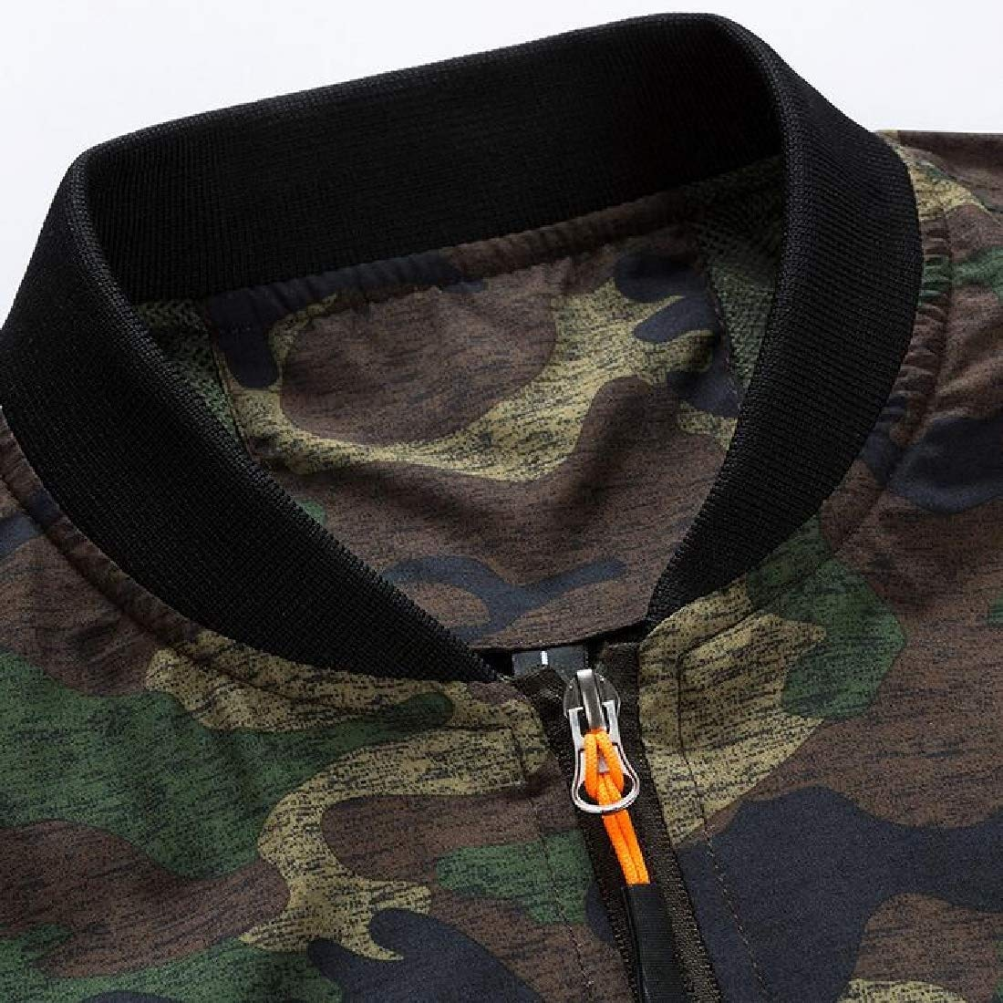 WSPLYSPJY Mens Fashion Zipper Stand Collar Coats Camouflage Army Bomber Jackets