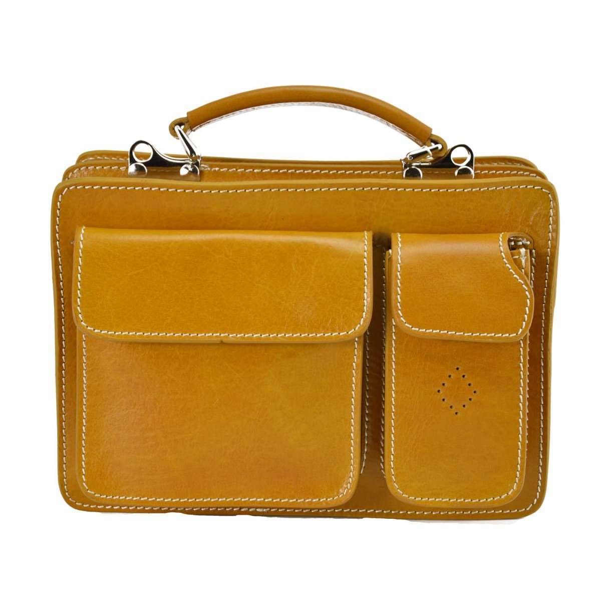 Made In Italy Genuine Leather Business Bag Mod. Mini Color Yellow - Business Bag B01N6Y1GI4