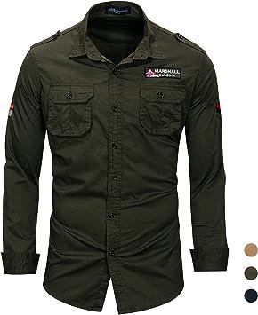 Camisa Militar de algodón para Hombre,Camisa Ocio de Manga Larga Transpirable Camisa Sólida con Bordado: Amazon.es: Deportes y aire libre