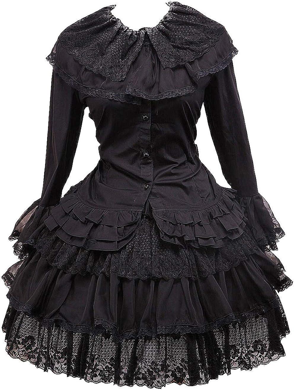 Antaina Blusa de Lolita Gótica de Encaje en Algodón Negra y Falda ...