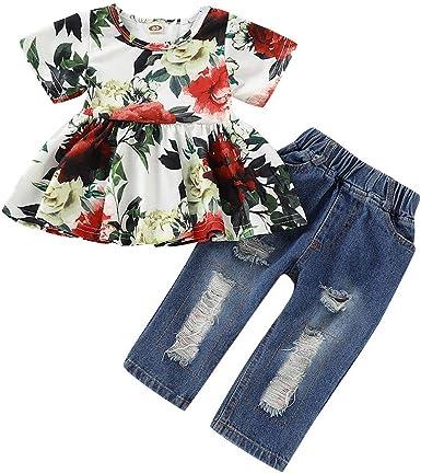 2Pcs Kids Girls Summer Outfits Floral Tops Shirt+Pants Beach Casual Clothes USA