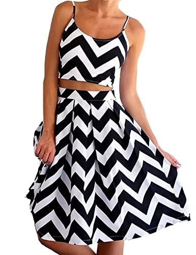 PromMe Two Pieces Black And White Strips Midi Dress