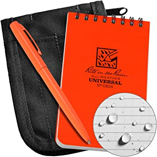 "product image for Rite in the Rain All-Weather 3"" x 5"" Top-Spiral Notebook Kit: Black CORDURA Fabric Cover, 3"" x 5"" Orange Notebook, and Orange All-Weather Pen"
