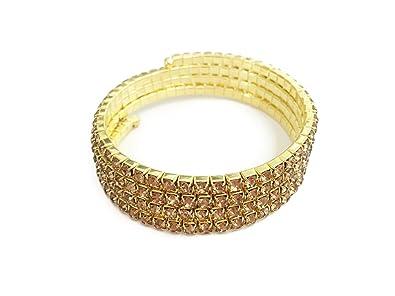 Beautiful Champagne Diamante Wraparound Bracelet Bangle Cuff