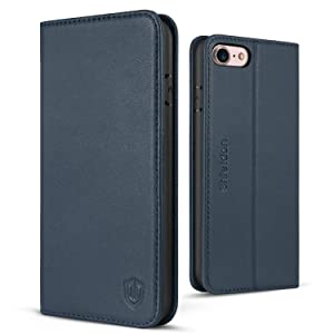 SHIELDON iPhone 7 Case, iPhone 8 Wallet Case, Genuine Leather iPhone 7 Flip Case Credit Card Slots Magnetic Cover Kickstand TPU Interior Case Compatible with iPhone 7 8 (4.7 Inch) - Blue