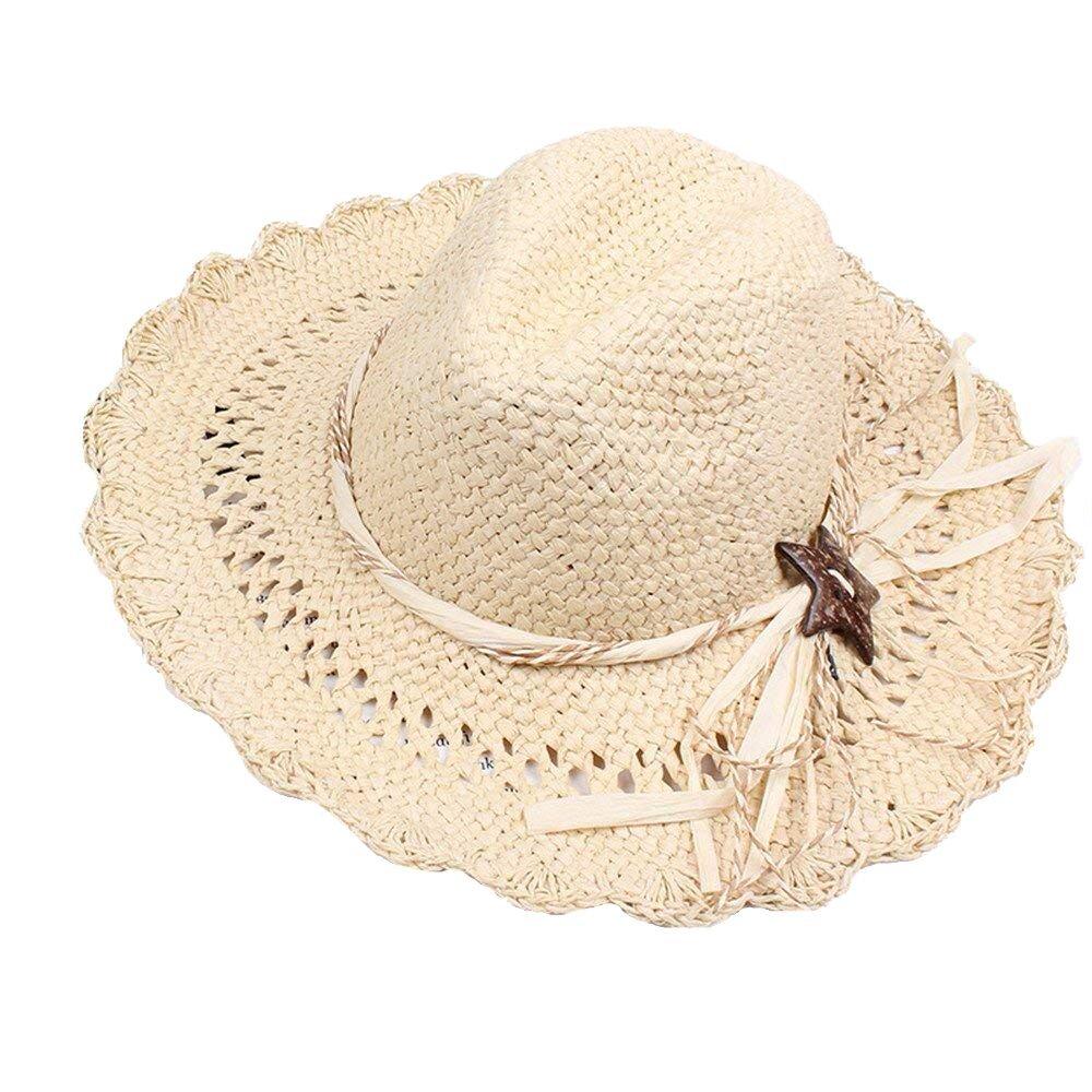 ITODA Mujer Sombrero de Paja Sol Visera Playa Gorra Sun Hat Beach ...