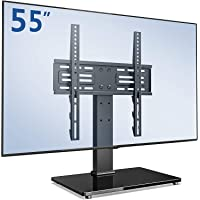 FITUEYES Swivel TV Stand with Safety Rope fit 26-55 inch Screen Tabletop TV Mount 6 Heights Adjustable Glass Base Max…