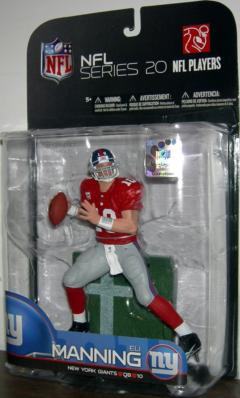 Red Jersey Variant New York Giants McFarlane Toys NFL Sports Picks Series 20 2009 Wave 1 Action Figure Eli Manning